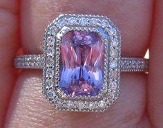 2 Carat Violet Ceylon Sapphire in White Gold Milgrain Bezel Diamond Halo Engagement Ring, by JuliaBJewelry on Etsy