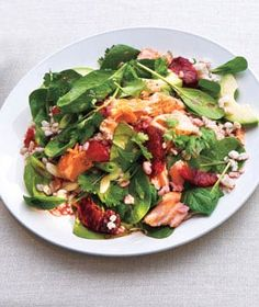 Spinach Salad With Salmon, Barley, and Oranges from realsimple.com #myplate #protein #vegetables