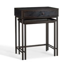 Master Bed Side Tables option - Woodrow Metal Nesting Bedside Table | Pottery Barn