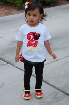 Custom Boutique Minnie Birthday Applique t-shirt  - machine embroidered - personalized. $20.00, via Etsy.