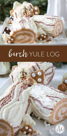 Delicious and beautiful Birch Yule Log Recipe for Christmas entertaining! via Delicious and beautiful Birch Yule Log Recipe for Christmas entertaining! Baking Recipes, Cake Recipes, Dessert Recipes, Yummy Recipes, Classic Yule Log Recipe, Chocolate Yule Log Recipe, Christmas Desserts, Christmas Foods, Holiday Foods