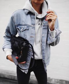 denim jacket x sweatshirt x black skinnies