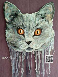 Saartje. Gehaakte kattenkop. Freeform crochet of a head of my cat Saartje by Wilma Poot. www.artsation.nl