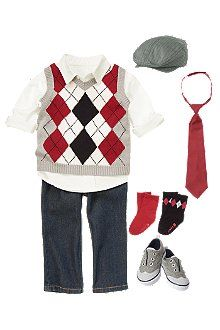 Hello handsome baby boy Holiday outfit- Argyle vest and oxford shirt, herringbone cap, tie and wingtip sneakers.