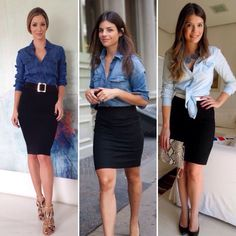 Looks Style, Casual Looks, My Style, Look Camisa Jeans, Office Fashion Women, Womens Fashion, Looks Jeans, Look Blazer, Casual Dresses