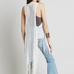 Free People Tiered Fringe Vest - Ivory, Medium MSRP: $168   This gorgeous piece is still selling  on the website for full price. It's an absolute beauty!!   Size medium. Images borrowed from Free People.  Originally listed at $98. Free People Sweaters