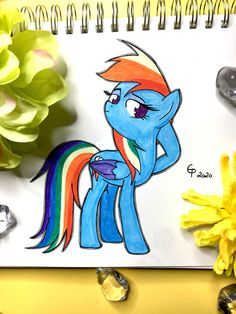 Here you can see a drawing of Rainbow Dash from My Little Pony Rainbow Dash, My Little Pony, Disney Characters, Fictional Characters, Fanart, Drawings, Sketches, Fan Art, Draw