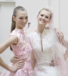 Elie Saab Haute Couture S/S 2012, Toni Garn and Karlie Kloss backstage