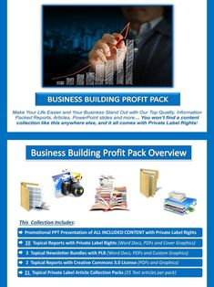 Online Business Building PLR Profit Pack Quality, value packed and affordable private label business building content portfolio, jam-packed with premium PLR reports, essays, articles and graphics. All of it comes with our exclusive, profit-ready, viral PowerPoint presentations. We've done all the hard work for you! #internetmarketing #businessbuilding #onlinebusiness #internetbusiness