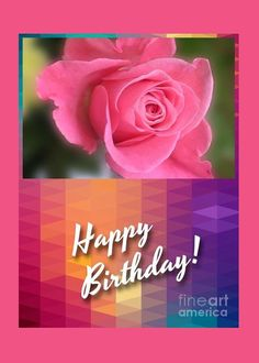 Pink Rose Birthday Greeting Greeting Card by Joan-Violet Stretch