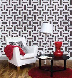 Geomatric wall stencil design, Reusable wall stencil for wall, DIY wall decor Wall Stencil Designs, Damask Wall, Stencil Painting On Walls, Diy Wall Decor, Home Decor, Geometric Wall, Modern Wall, New Homes, House Styles