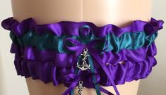Purple Haze and Teal Wedding Garter Set by WeddingGarterStore