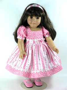Handmade American Girl Doll Clothes - Hearts, Dots Dress - Exclusively Linda…