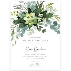 Eucalyptus Greenery Bridal Shower Invitation | Forever Your Prints