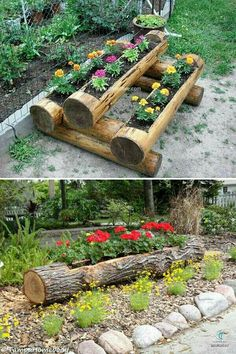 19 Amazing DIY Tree Log Projects for Your Garden,Tree logs and fallen tree trunks are great materials for nature-inspired garden decorations. They will add rustic touch to your garden and will be als. Diy Garden, Garden Planters, Garden Projects, Garden Art, Log Projects, Balcony Garden, Wood Planters, Bamboo Garden Ideas, Outdoor Projects