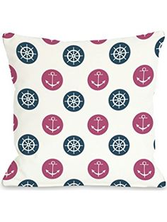 Bentin Home Decor Anchor Wheel Polka Dot Throw Pillow by OBC 16 WhitePinkBlue *** Visit the image link more details. Polka Dot Print, Polka Dots, Anchor Pillow, Blue Throw Pillows, Home Gifts, Pink Blue, Color Pop, Living Room Decor, Your Style
