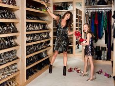 Rows of shoes and matching mommy/daughter cocktail dresses!