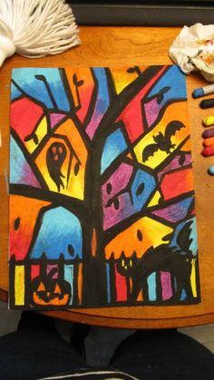 Pastel gras en dégradé Fall Projects, Halloween Projects, Pastel Gras, Bricolage Halloween, Theme Halloween, Autumn Art, Art Lesson Plans, Heart Art, Art Plastique