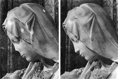 A combo photo shows a detail view of the damaged Michelangelo's Pieta and it after restoration works at the Vatican.