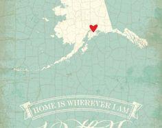 Alaska map art state poster- 8 x 10 Typographic poster, inspirational print, wall decor, kitchen art, digital print, quote art