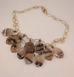 Handmade Necklace  Agate necklace Wire wrapped by MahsanAmoui