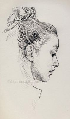 David Malan, pencil {contemporary figurative beautiful female head woman portrait profile sketch cropped drawing}