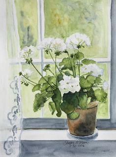 """""""Geraniums in the Window"""", 9""""x12"""", original watercolor by Sharon Moran"""