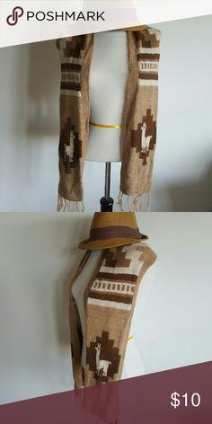 Vintage alpaca scarf Brown and tan vintage alpaca scarf. Message with questions. Vintage Accessories Scarves & Wraps