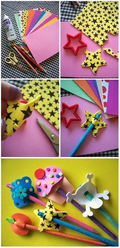 Manualidad: Decora tus lápices para la vuelta al cole con adornos de goma EVAClown Crafts A white sheet of paper drew the face of a clown then painted Kids Crafts, Foam Crafts, Diy And Crafts, Arts And Crafts, Paper Crafts, Pencil Toppers, Kids And Parenting, Diy For Kids, Activities For Kids