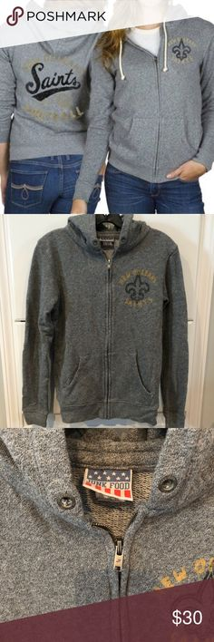"""Junk Food Clothing New Orleans Saints Hoodie NFL Junk Food Clothing """"New  Orleans Saints NFL ZIP Up Hoodie."""" Size Large. (Runs a bit small slimmer  fit) Great ... 564c8c967"""
