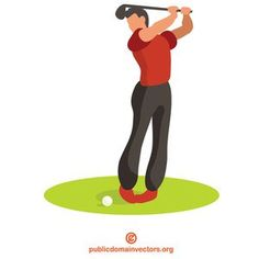 Vector image of a man playing golf. Golf Player, Play Golf, Public Domain, Vector Free, Vectors, Clip Art, Sports, Hs Sports, Sport