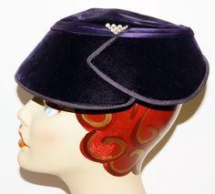 1940s Womens Purple Velvet Pillbox Formal Hat WWII Vintage Retro Pinup by GrandFunkeVintage on Etsy https://www.etsy.com/listing/243285786/1940s-womens-purple-velvet-pillbox