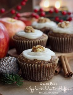 Grain free Apple Walnut Muffins with Maple Butter Frosting, processed sugar free