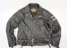 Harley-Davidson Motorcycle Black Leather Belted Jacket Brando Collar US Sz M in Clothing, Shoes & Accessories, Men's Clothing, Coats & Jackets | eBay