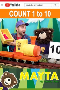 Learn numbers with Mayta and B! Watch The Idea Train deliver numbers and various colored puff balls for B to count. Mayta The Brown Bear features educational videos for children. Baby Learning Videos, Toddler Learning, Toddler Activities, Choo Choo Train, Learn To Count, Learning Numbers, Educational Videos, Brown Bear, Pre School