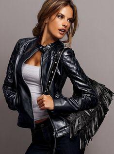 Alessandra Ambrósio - leather jacket