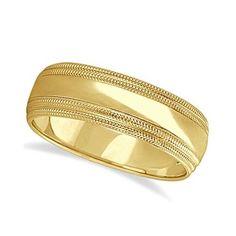 Mens Shiny Double Milgrain Wedding Ring Wide Band 14k Yellow Gold (7mm), Men's, Size: 11