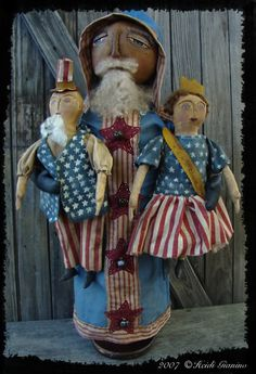 Patriotic Santa with lady Liberty and Uncle Sam