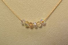 Carrie Necklace Swarovski Crystals Matte Gold by Gemsicles on Etsy