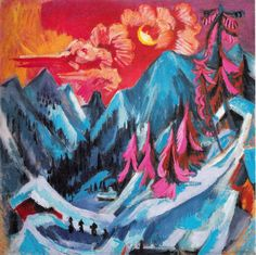 Ernst Ludwig Kirchner's Wintermondlandschaft (Winter Landscape in Moonlight), (1919). To see more works by the intriguing German Expressionist, visit http://community.artauthority.net