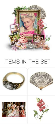 """""""24/50 Marie Antoinette"""" by amethystvisions ❤ liked on Polyvore featuring art, modern, kirsten dunst, green, cake, pink, flim, flower, ivy and movie"""