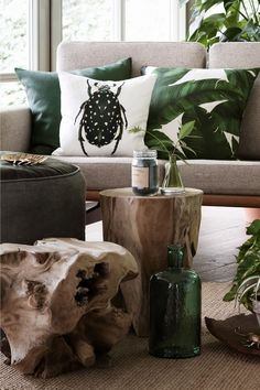 H&M home. Bug pillow, leaf pillows for neutral couch. Will go well with plants in home.