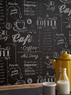 Coffee shop black / white wallpaper by graham and brown liberty campus cafe Easy Coffee, Coffee Menu, Coffee Coffee, Coffee Pods, Coffee Break, Look Wallpaper, Peel And Stick Wallpaper, Cool Wallpapers Designs, Live Wallpapers