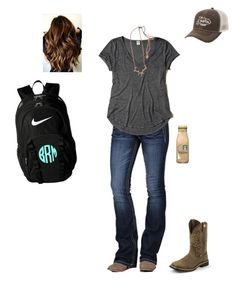 """""""Spanish Final Today"""" by kansascountrygirl ❤ liked on Polyvore featuring NIKE, Miss Me, Hollister Co., GURU, Hjälte Jewellery and Justin Boots"""