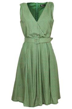 Cute for Beth! Elise Green Diamond Print Dress - Womens Knee Length Dresses - Birdsnest Online Fashion