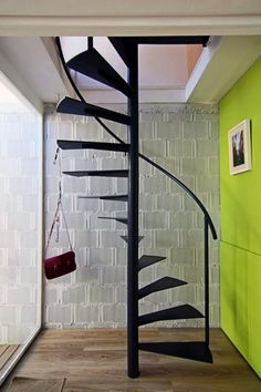 Awesome Design Ideas Of Small Space Staircase With Black Metal Floating  Treads Also Combine With Handrails Also Metal Pole Holder With Space Saving  ...