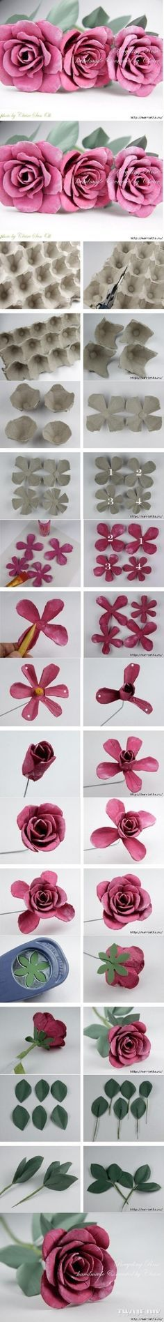 DIY upcycle egg box roses pink roses diy easy crafts diy ideas diy crafts do it yourself easy diy diy flowers craft flowers diy decor craft decor diy craft ideas diy tutorials Craft and DIY Projects and Tutorials Handmade Flowers, Diy Flowers, Fabric Flowers, Paper Flowers, Rose Flowers, Pink Roses, Roses Roses, Flower Diy, Flower Crown