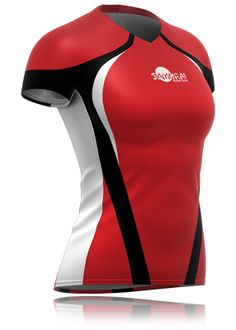 Womens rugby shirt, black and red. Just one of the rugby shirts you can have personalised at www.samurai-sports.com