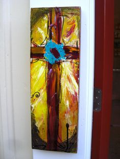 One of the BEAUTIFUL paintings from my friend, Tracee Cross Paintings, Canvas Paintings, Canvas Art, Painted Crosses, Crosses Decor, Cross Art, Red Cross, Easter Pictures, Arts And Crafts