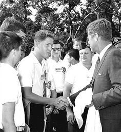 Teenage Bill Clinton meets JFK, 1963. Who would have thought how closely he'd follow in JFK's footsteps. --Sezin